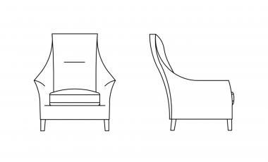 Кресло SALONI HIGH-BACK CHAIR от JAB